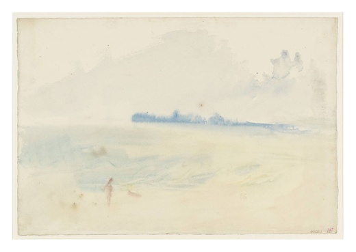 The Blue Headland; a Figure and a Dog on the Shore, Perhaps at Margate circa 1835-40 by Joseph Mallord William Turner 1775-1851
