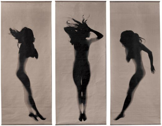 A photograph triptych by the artist Floris Neusüss