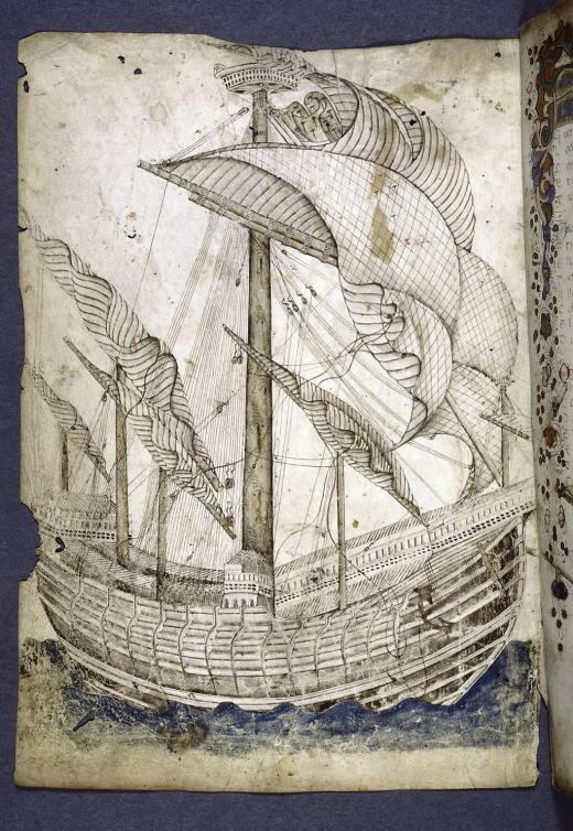 15th-c drawing of a tall vessel